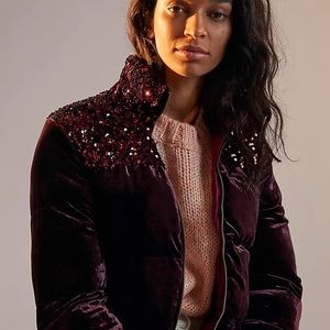 Anthropologie Sequined Puffer Jacket - Sz S (NWT)